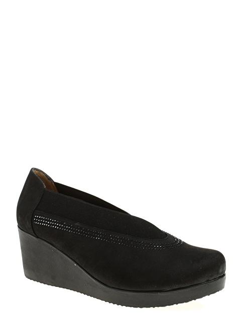 Divarese Boncuk Detaylı Dolgu Topuklu Ayakkabı Siyah